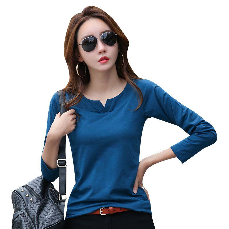 Camiseta Llano Mujer Para Cs362 V Manga Cuello Superior Básica Larga Camisetas Algodón De Otoño Simple T HIDE29