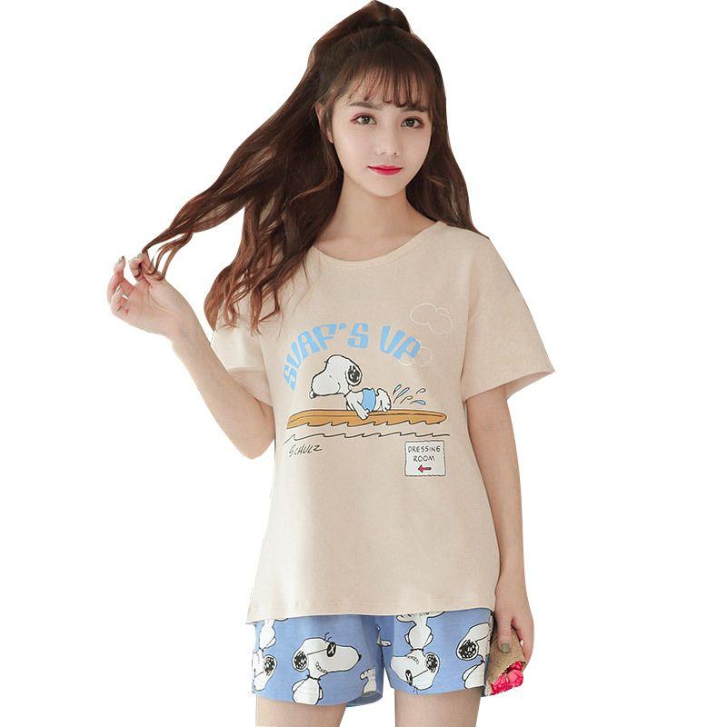 7a9acf3330 2019 Pajamas Women Cute Dog Print Crop Top + Shorts Pajamas Set Cotton  Pajamas Loose Elastic Waist Lounge Pyjamas Sleepwear From Luzhenbao521