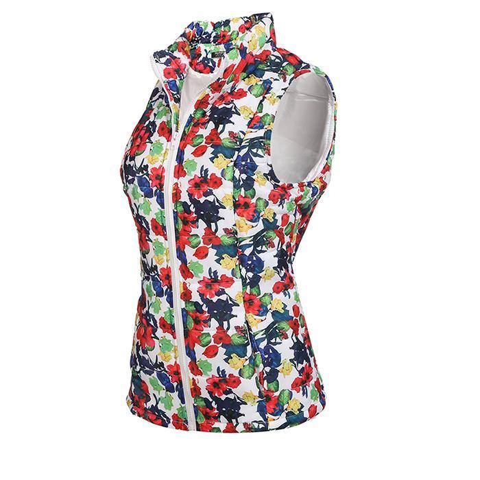 Zeagoo Sonbahar Yelek Kadın Kış Ceket Sıcak Standı Yaka Zip Up Çiçek / Katı Rahat Kapitone Yelek ile Cep chaleco mujer