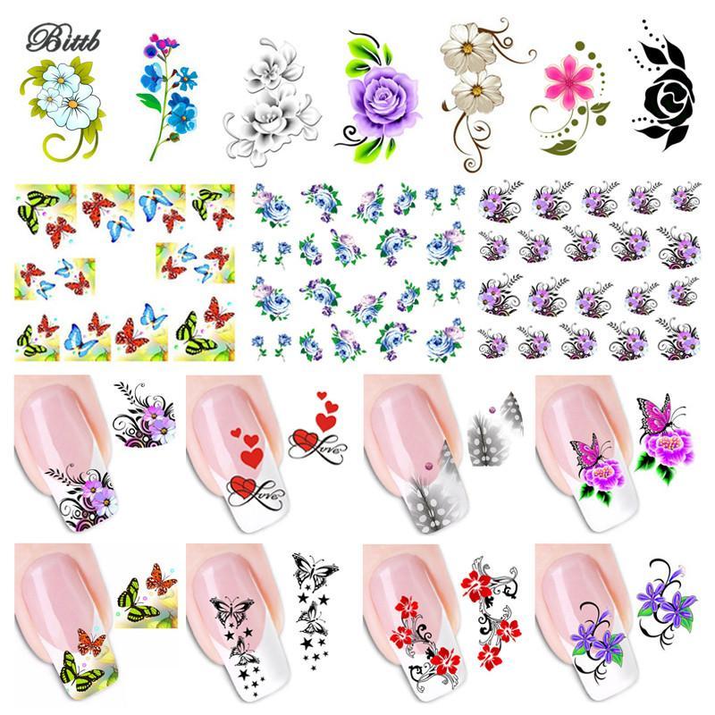 Bittb Floral Nail Sticker Fingernail Decals Butterfly Flower Nail ...