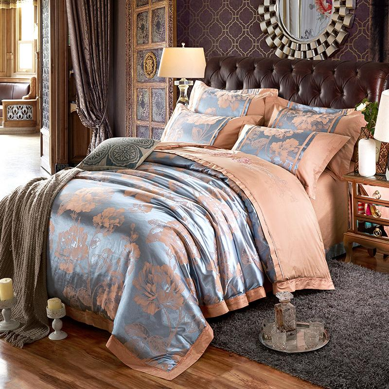 Modern Silk And Cotton Jacquard Bedding Set 2017 New Bed Set Super King Bed Linen Set Luxury Flat Sheet Duvet Cover Bedclothes 100 Cotton forter Sets Queen Plan - Popular luxury king bedding Picture