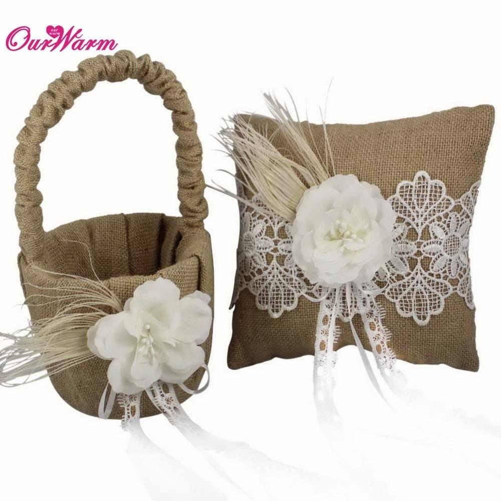 Jute Burlap Wedding Ring Pillow Flower Basket With Floral Lace Ribbon Rustic Girl For Decoration Bachelorette Party Favors: Wedding Burlap And Lace Ring Pillow At Websimilar.org