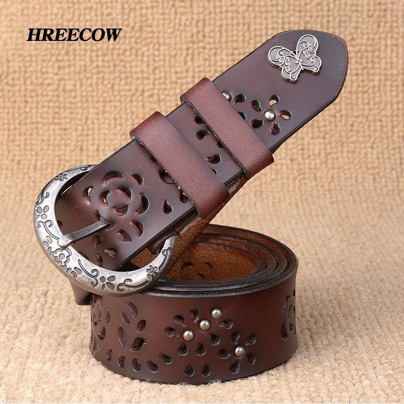 Women Belt Genuine Leather Bow Luxury Strap Female Hollow Out Rivet Belts  For Women Pin Buckle Good Quality Cintos Masculinos S18101806 Designer Belts  ... e6539beee1a7