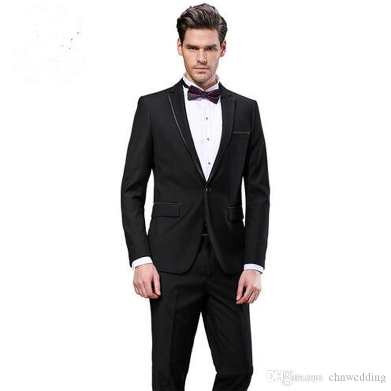 5053b26f4c Slim Fit Black Men Suits Wedding Groom Tuxedos Business Formal Wear 2  Pieces (Jacket+Pants) Bridegroom Sets Blazer