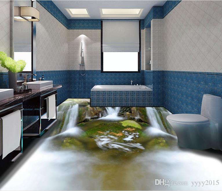 wall papers home decor designers Water flowing 3D floor tile stickers 3d wallpaper for room