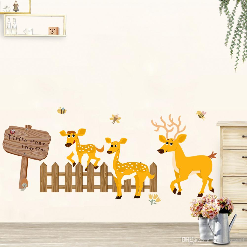 Cartoon Deer Fence Sign Board Wall Decals Kids Room Nursery Wall Border Decor Wallpaper Poster Art