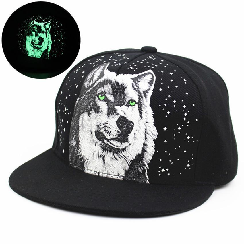 f79b65593f958 Men Women New Glow In The Dark Hat Print WOLF Snapback Hats Adjustable Hip  Hop Fluorescent Baseball Cap Fitted Cap Baseball Caps For Men From  Enchanting11