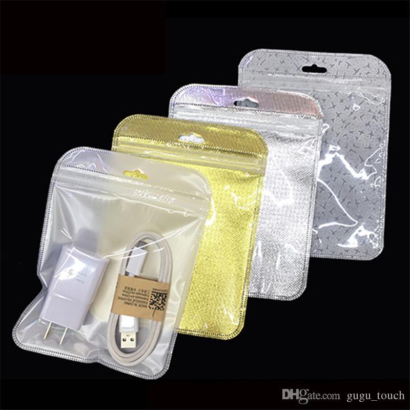 Chiusura lampo di plastica trasparente + oro argento autoadesiva della chiusura lampo autoadesiva della chiusura lampo del sacchetto del pacchetto Pacchetto poli sacchetti di imballaggio di Opp il caricatore del cavo del usb della cassa del telefono
