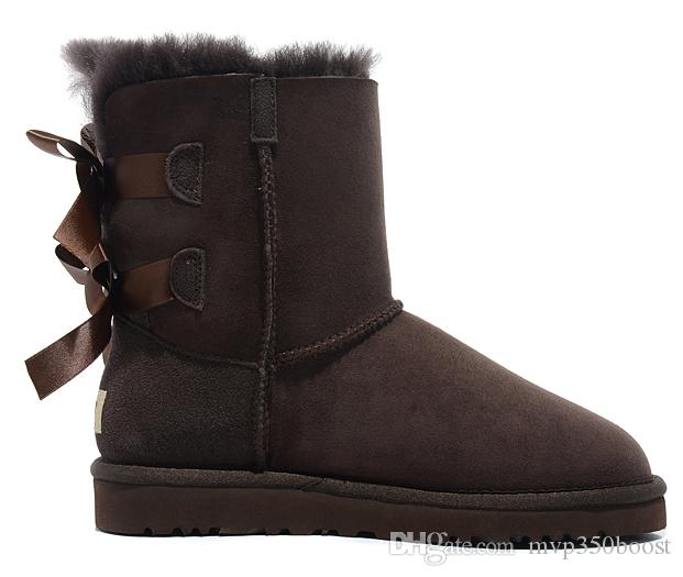 Free shipping2017 new Australian snow boots thick leather bow in the tube snow boots cotton shoes