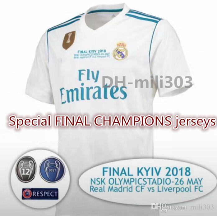 191dec8c9eb5b 2018 Real Madrid Jersey De Fútbol Local 17 18 Ronaldo Modric Bale Marcelo  Asensio Isco Liga De Campeones Especial Final Camisetas De Fútbol Camisa  Por ...