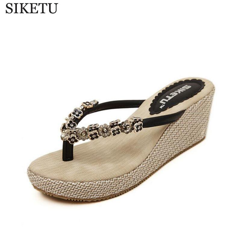 4f6e9d3401a3 SIKETU Korean Summer Women Shoes Beaded Wedge Sandals With High Quality Flip  Flops Sandals Zapatos Mujer Sandalias Mujer 251 Red Shoes Moon Boots From  ...