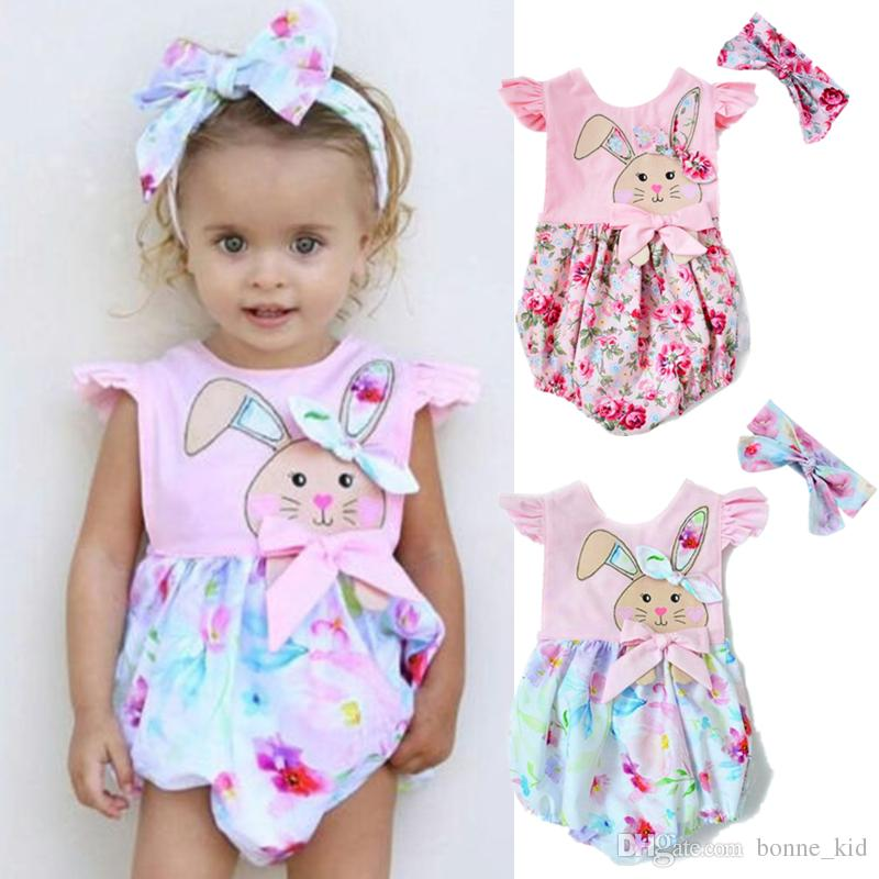 e954e500388a 2019 Summer Baby Girl Onesies Wiith Headband Rabbit Romper Jumpsuit Outfit  Kid Clothing Girls Lovely Floral Animal Pink Bodysuit Sunsuit 0 24M From ...