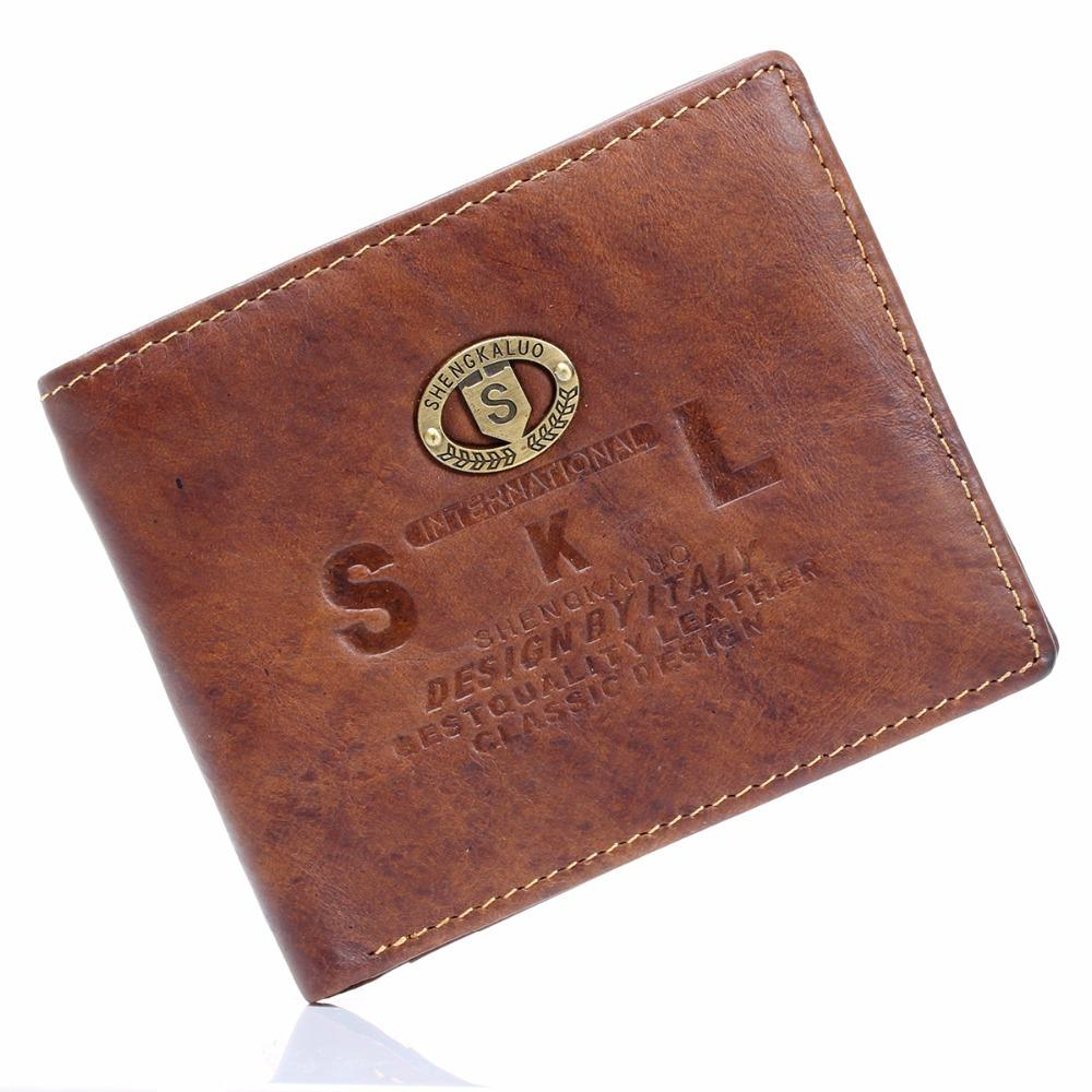 d7eaadebd Mens Wallets Brown Bifold Transverse Genuine Cowhide Real Leather Checkbook  Wallet Purse Credit Bank ID Card Slot Wholesale Wallet Shop Small Wallets  For ...