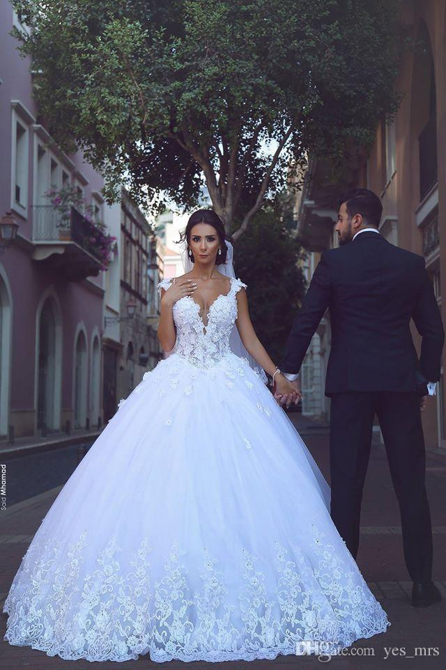 2018 Arabic Cheap Cap Sleeves Ball Gown Wedding Dresses Beaded Lace Appliques Court Train Puffy Tulle Plus Size Formal Bridal Gowns