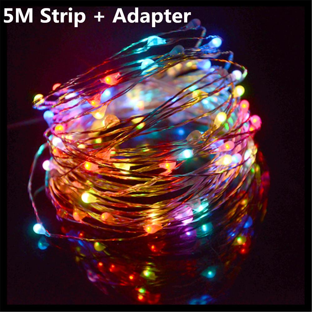 dc12v 5m led strip lamp 50 leds waterproof string fairy light copper wire christmas garden decoration eu us 2a power adapter 12v led strip battery