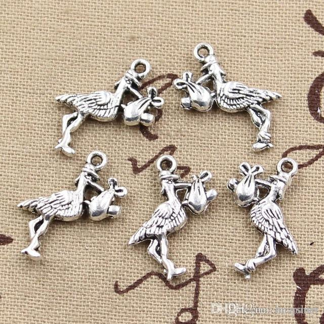 Wholesale 99Cents Charms Stork Baby Bird 2318mm Antique Making Pendant FitVintage Tibetan SilverDIY Bracelet Necklace Jewelry Beads Charm Cable