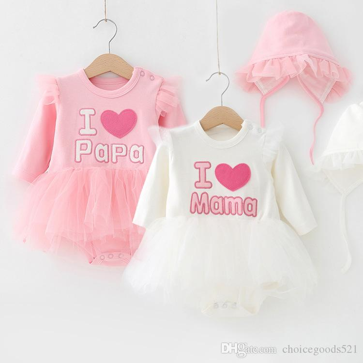 e42f6337e9f 2019 Baby Clothes Autumn Tutu Romper I Love Mama Papa Baby Newborn Romper  Embroidered Dress Romper With Hat Infant Toddler Long Sleeve Bodysuits From  ...
