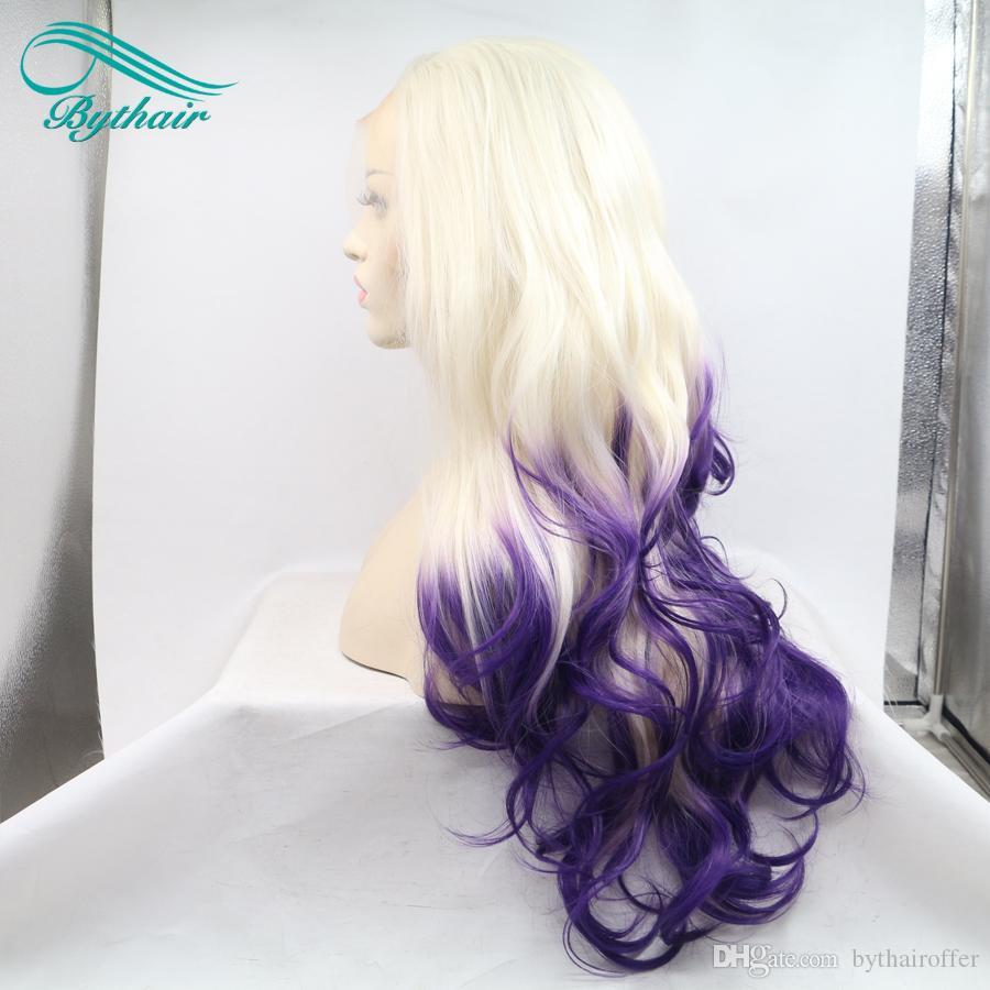 Bythairshop Side Part Pastel Blonde Ombre Lavender Purple Lace Front Wigs Synthetic Hair Body Wave Heat Temperature Fiber For Women Cosplay