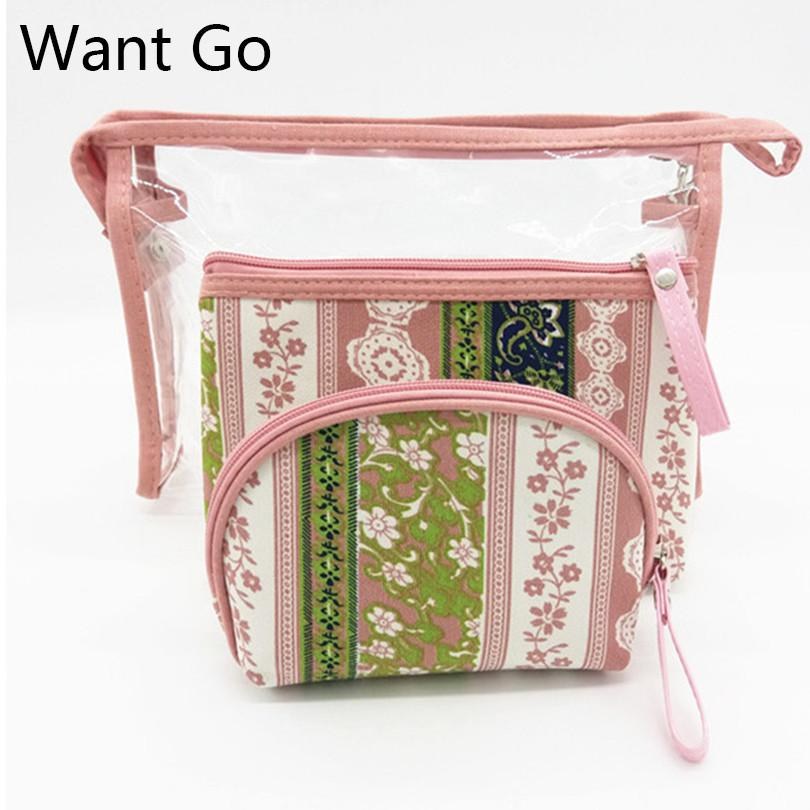 c843cca33fce Want Go 3Pcs/Set National Women Makeup Bag Floral Print Waterproof Cosmetic  Bag Zipper Vanity Travel Organizer Toiletry Wash
