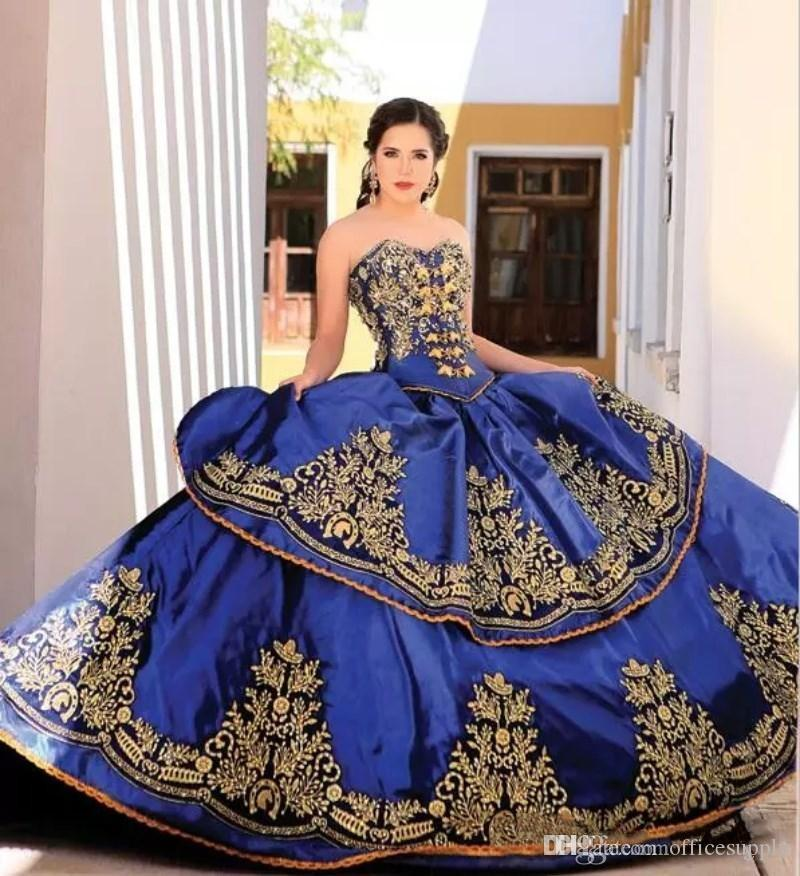 29bc6bb0971 Royal Blue New Sweetheart Embroidery Ball Gown Princess Quinceanera Dresses  Lace Bodice Waist Backless Prom Dress Sweetheart 16 Junior Gowns Mexican ...