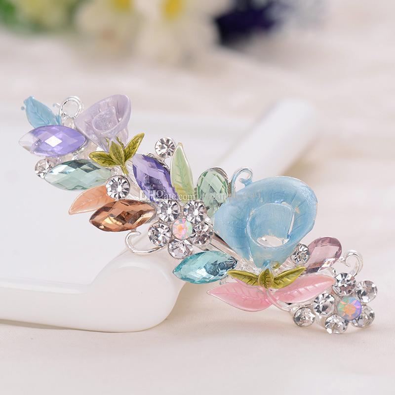 Trumpet Flower Shape Crystal Rhinestones Metal Hairpin Clip Hair Barrette Fashion Hair Clips Jewelry Clips Hair Accessories