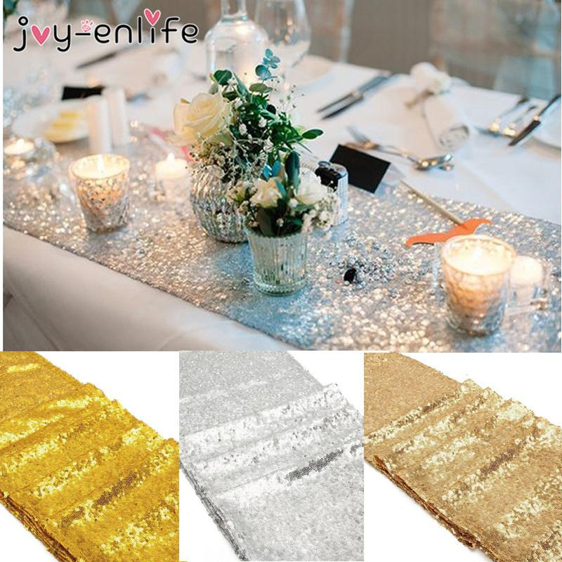 Joy Enlife Sparkly Bling Silver Gold Champagne Sequin Table