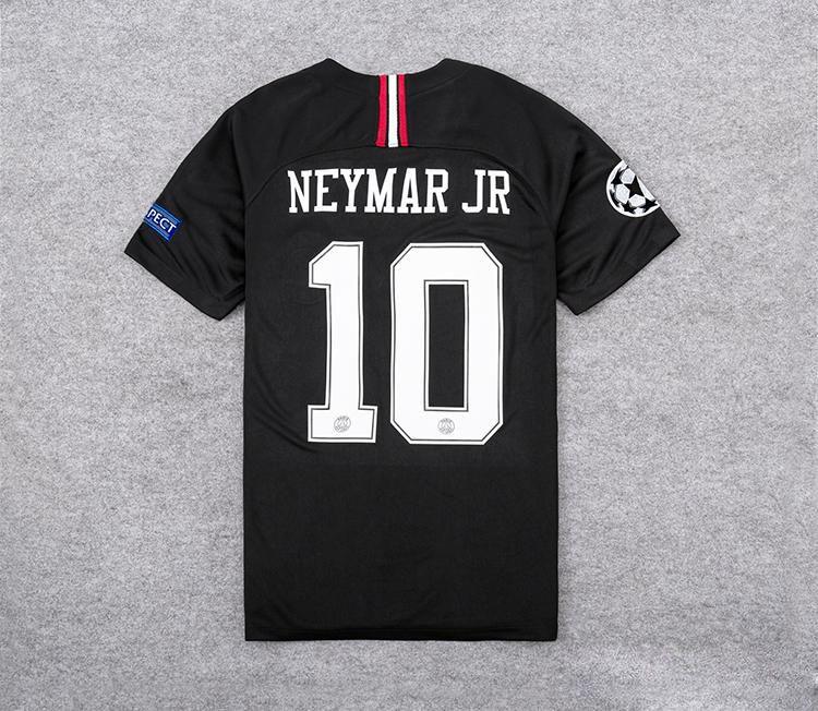 new product 4a64e fbda4 Thailand New Logo Third Home Black Soccer Jersey 18/19 Paris Saint-Germain  Champions league #10 #7 #9 CAVANI Black Soccer Shirt