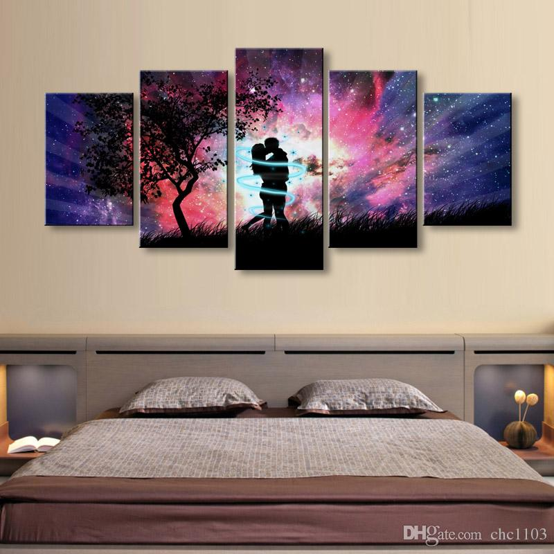 high-definition print Art Love Couple Aurora Shining canvas oil painting poster and wall art living room picture RW-076