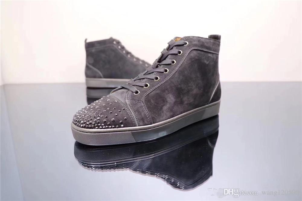 463f0ccf4c8 Luxury Designer Brand Mens Womens Red Bottoms Shoes High Top Gray Suede  Flats Shoes Wedding Party Lovers Leather Sneakers Sperry Shoes Silver Shoes  From ...