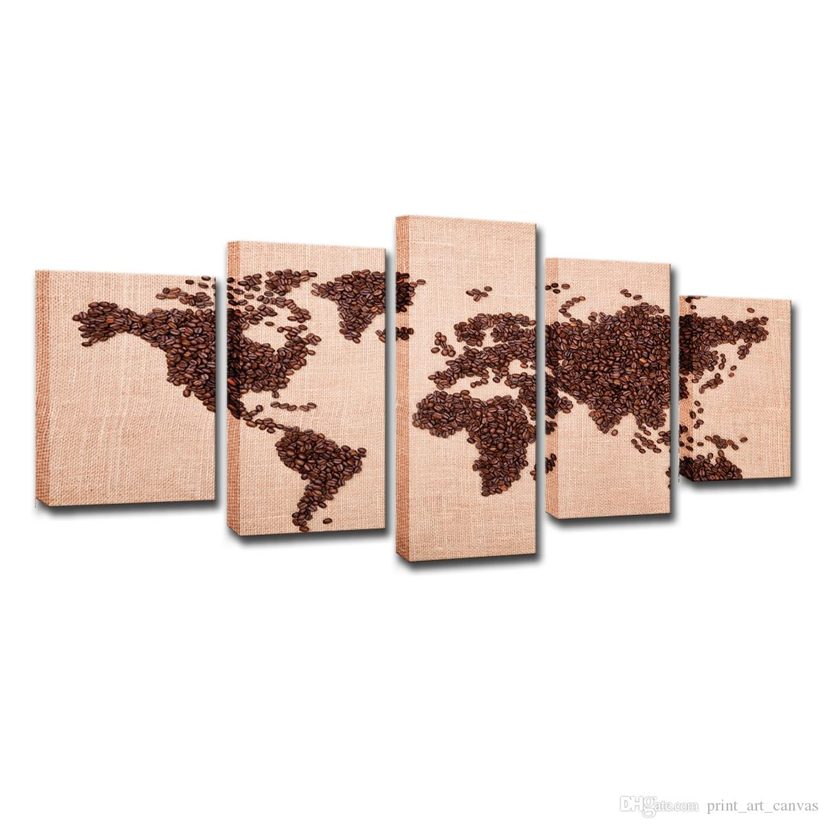 Canvas Pictures Home Decor For Living Room Wall Art 5 Pieces Coffee Beans World Map Paintings Modern HD Prints Posters