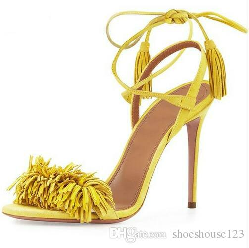 Yellow Red Suede Lace Up Women Pumps Rome Style Fringe High Heels Women  Sandals Cross Tied Stiletto Heels Women Shoes Platform Shoes Prom Shoes  From ... 4d9ad42db3ae