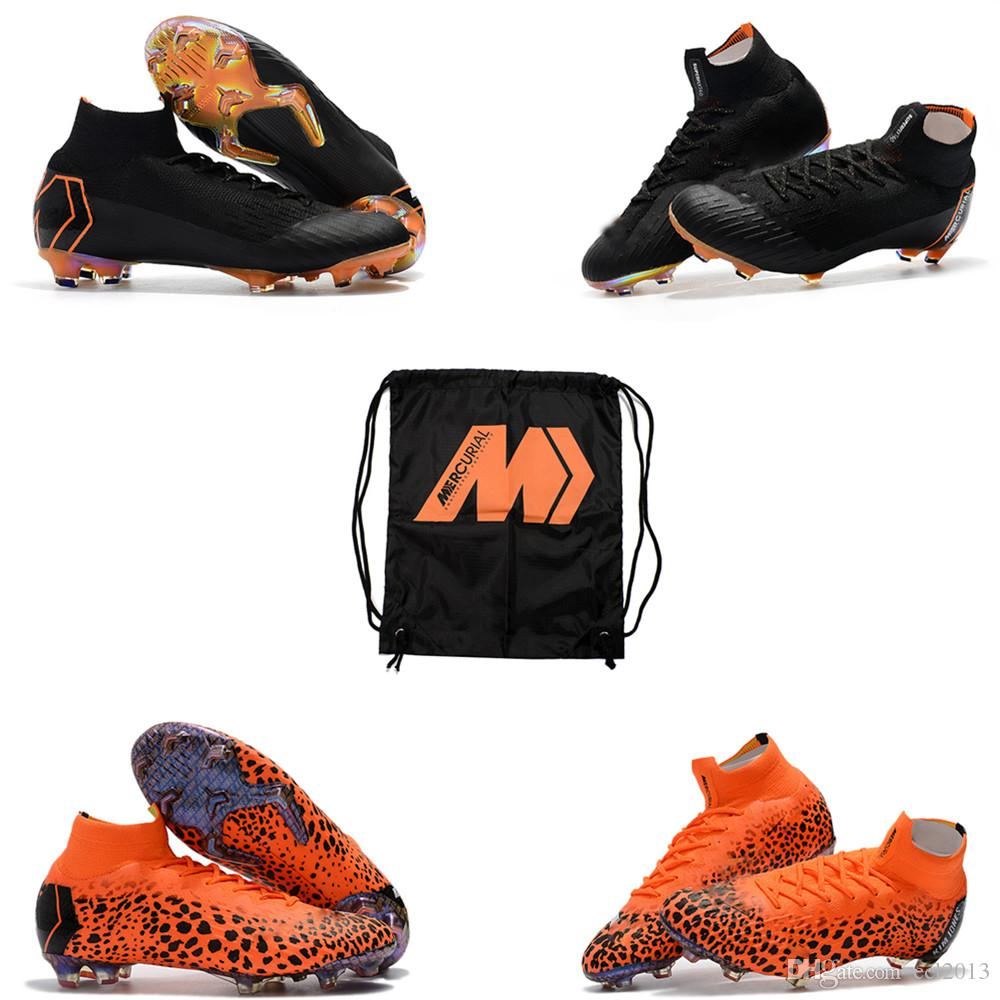 2018 Lastest Original Mens Womens Black Orange Mercurial Superfly KJ VI 360  Elite FG Kids Soccer Cleats With Football Shoes Bag Size 35-45 Soccer Shoes  ... 2d5ac9cc62
