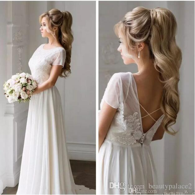 2018 Scoop Neck Short Sleeves Chiffon A-Line Wedding Dresses Lace Appliques Backless Bridal Gowns Simple Spring Summer Custom
