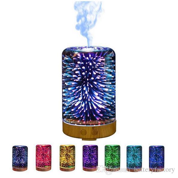 3D Aroma Humidifier Diffuseur Humidificateur à Ultrasons Portable Diffuseur Gradient LED Cool Mist Air Frais Spa Beauté 100ML Livraison Gratuite