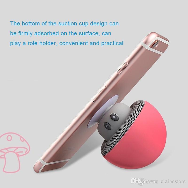 Wireless Mini Murshroom Bluetooth-Lautsprecher-beweglicher Bluetooth Subwoof mit wasserdichtem Silikon-Sauger-Telefon-Halter für Telefon MP3 Tablet PC W