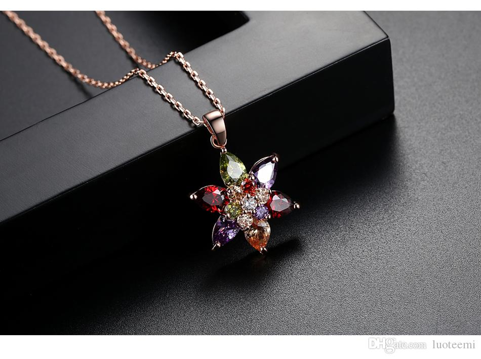 LUOTEEMI New Rose Gold Color Multi Cubic Zirconia Stone Flower Pendant Necklaces For Women Fashion Jewellery Christmas Gift