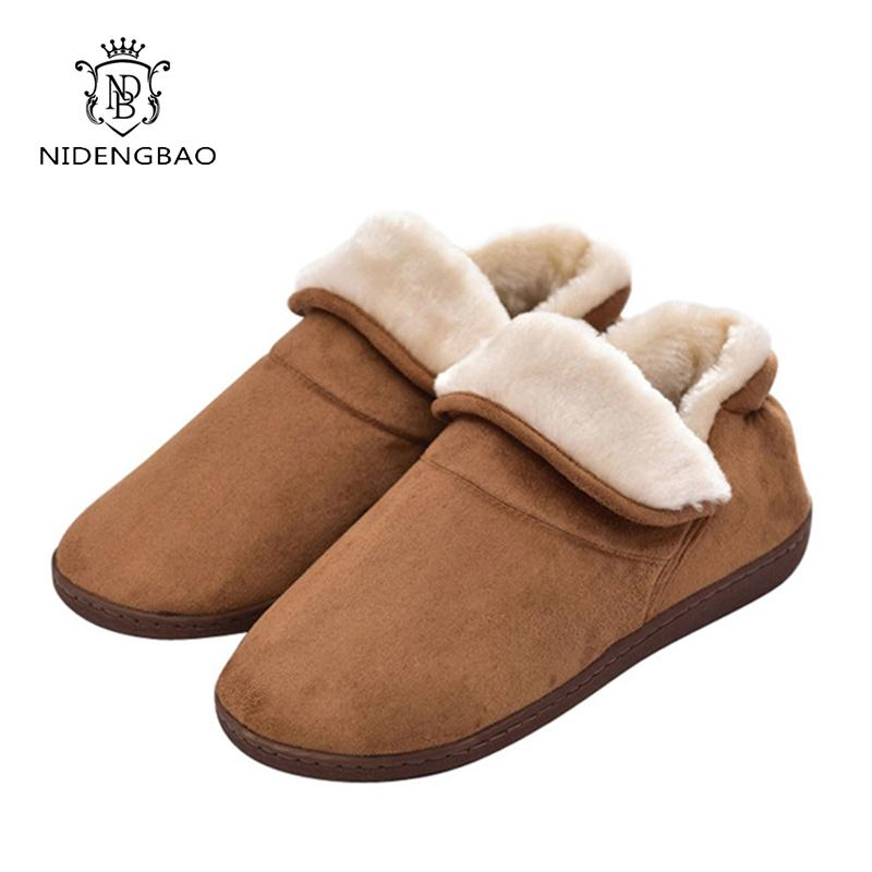 Winter Big Size Men Warm Soft Cotton Color Flannel Indoor Floor Women Home Shoes For Couple Bedroom House Furry Slippers