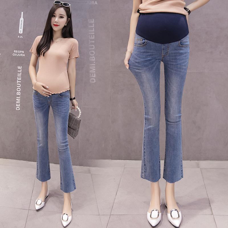 e522b5ea44eee 2019 9/10 Length Denim Maternity Flared Trousers Summer Autumn Fashion Pants  For Pregnant Women Elastic Waist Pregnancy Jeans From Mingway245, ...