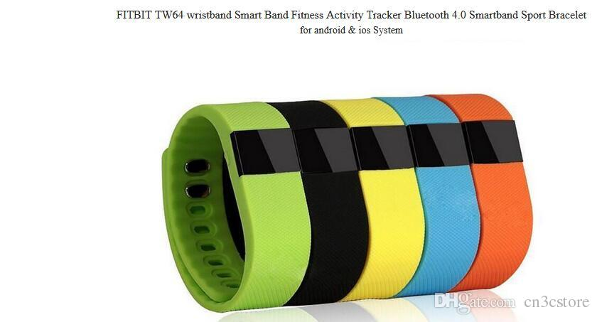 TW64 Nueva pulsera de 12 colores Smart Band Fitness Activity Tracker Bluetooth 4.0 Smartband Pulsera deportiva para IOS Android Cellphone