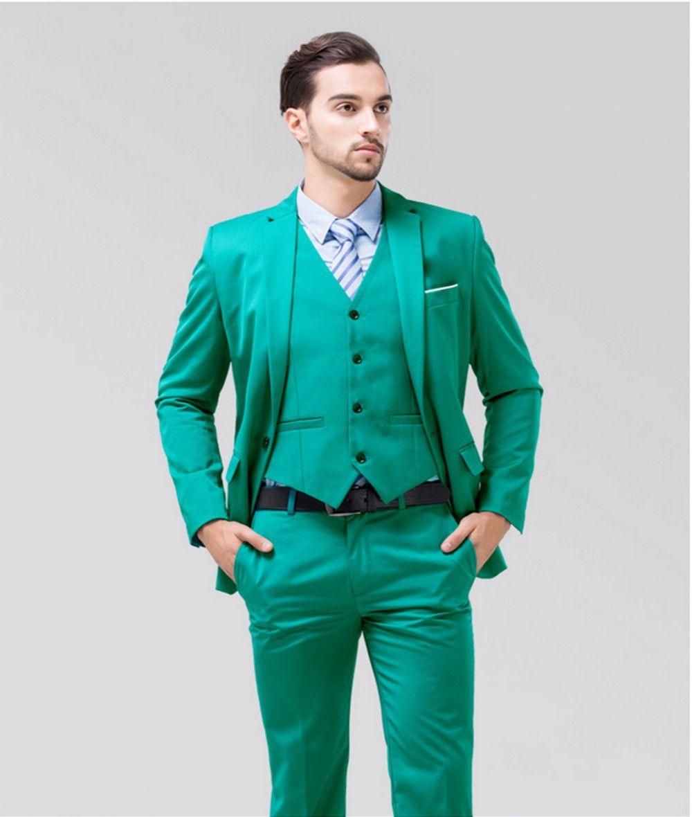 Sunshine Energetic Turquoise Groom Tuxedos Notch Lapel Center Vent ...