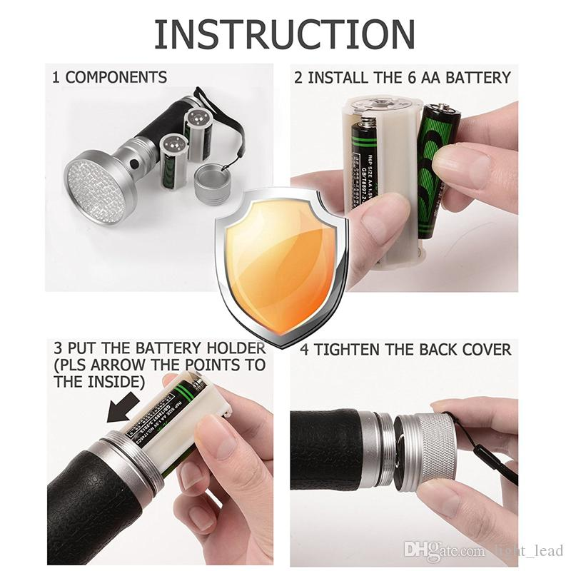 100LED 395-400nm linterna UV portátil para detectar Scorpion Dog Pee Fluidos corporales Insectos de cama Inspección de dinero Pasaportes