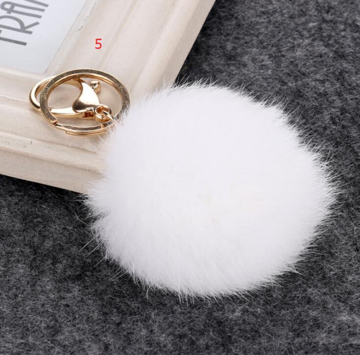 Llavero de bola de piel de conejo real Bola de piel suave Precioso llavero de metal dorado Bola de pompones Llavero de peluche Llavero de coche Pendientes Accesorios 2