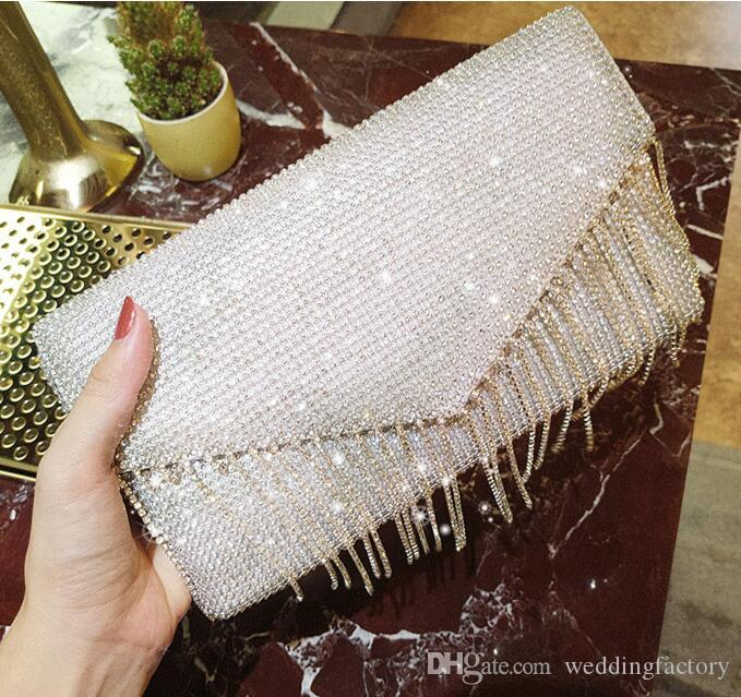 2018 Bling Bling Bridal Hand Bags Evening Party Crystals Handbag Handmade Tassels Envelope Bags Wedding Bag Clutches Accessories