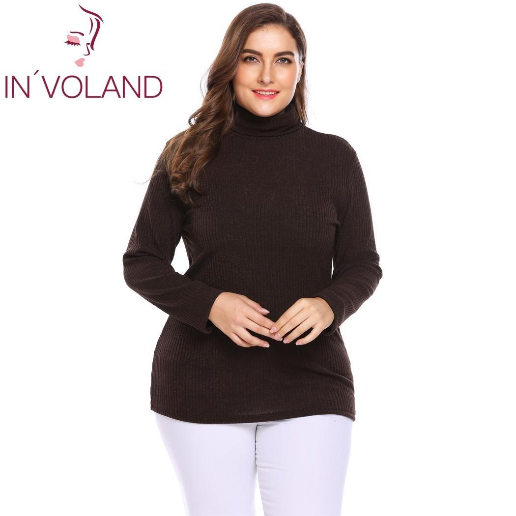 f1264a6581 IN VOLAND Plus Size Women Pullover Sweaters Autumn Winter Basic Classic  Warm Mock Turtleneck Solid Loose Large Tops Big Size Y18102001 UK 2019 From  Gou01
