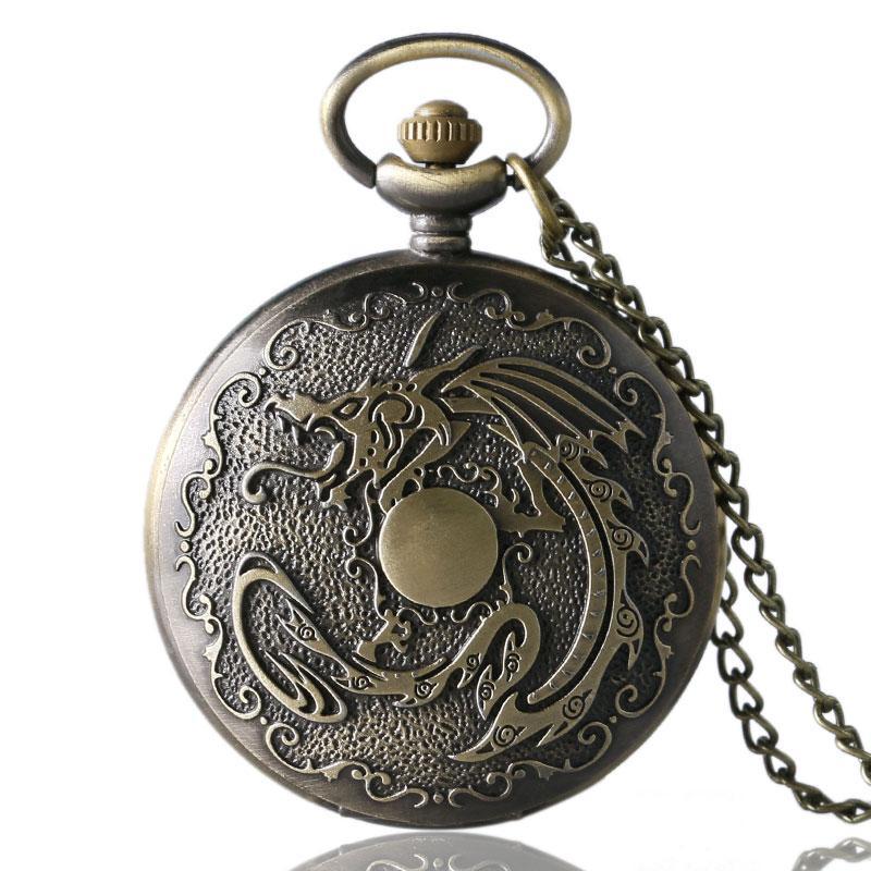 5d970311fc2 Bronze Evil Dragon Fire Quartz Pocket Watch Steampunk Style Bronze Pendant  Necklace White Dial Men Women Clock Relogio De Bolso Pocket Watch Swiss  Watches ...
