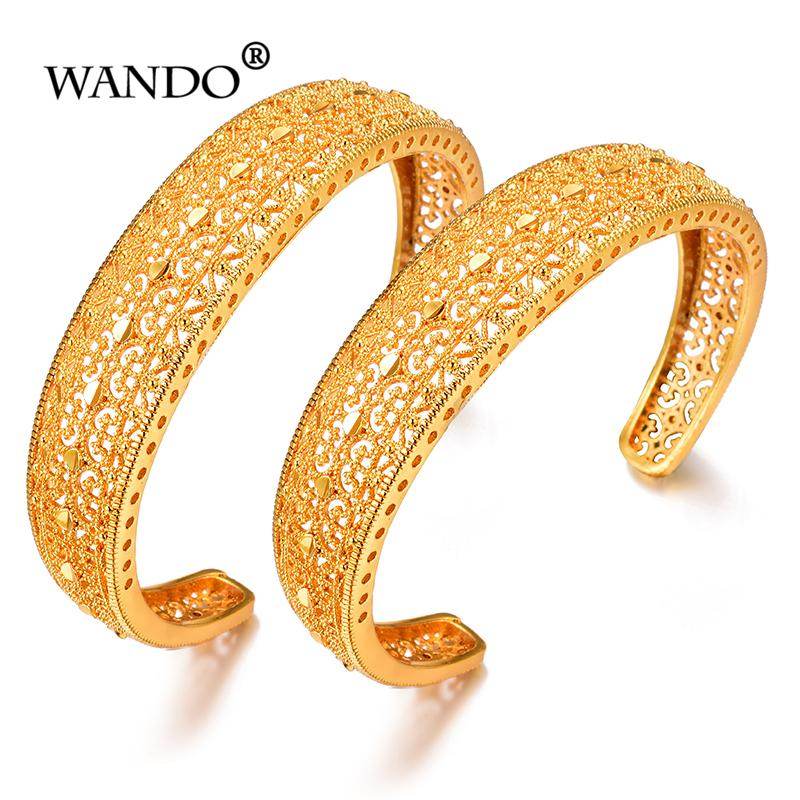 WANDO Turkey open Bracelet New for Women Gold Color Kurdish Charm Bangle  Arab Jewelry Middle East/African bangle gift b148