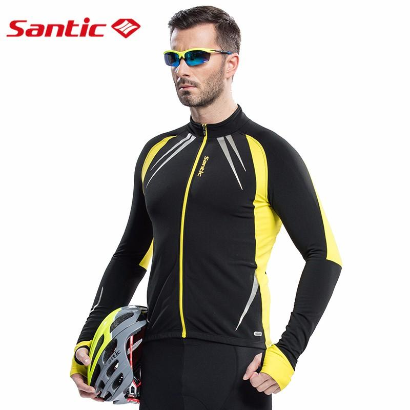 SANTIC Men S Thermal Cycling Jacket Winter Warm Up Fleece Bicycle Clothing  Windproof Bicycle Sports Coat MTB Bike Jersey C01023Y Cycling Jackets For  Men ... b19ba9723