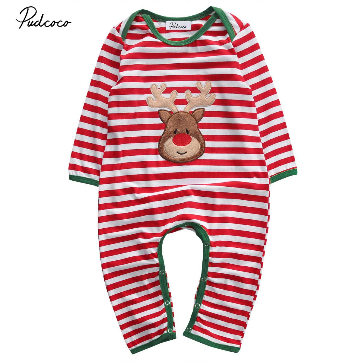 0b62b4ecc 2019 Christmas Baby Romper Pajamas Red Stripes Long Sleeve Newborn ...