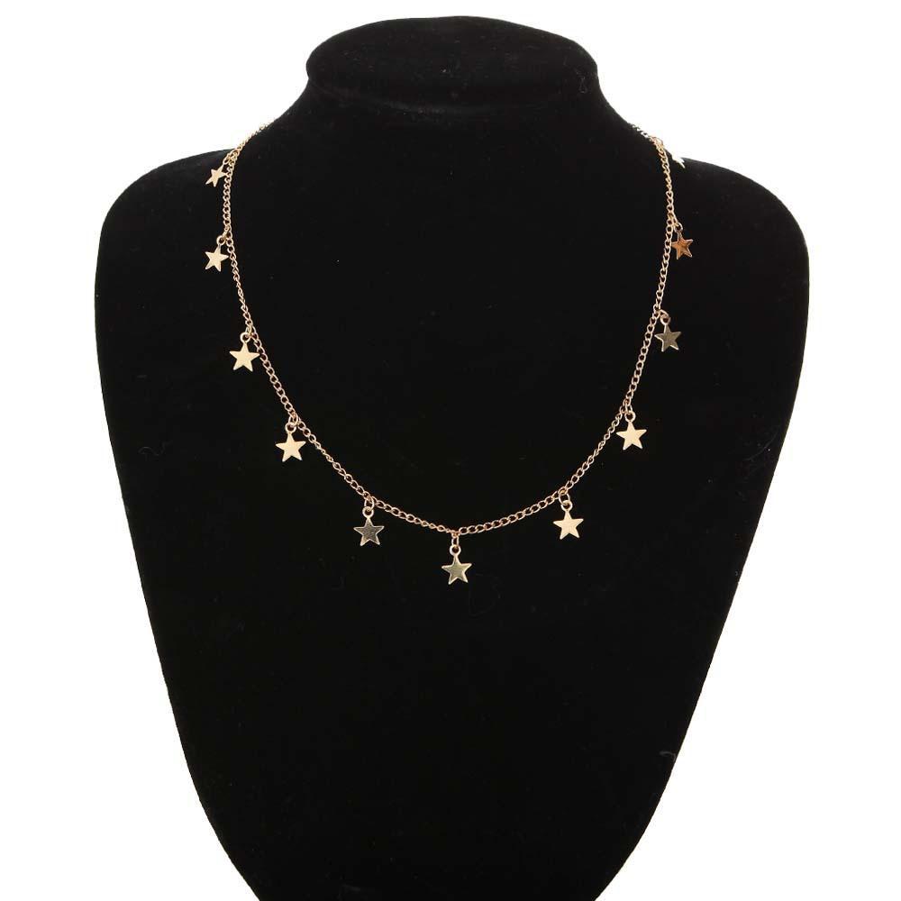 acquisto economico 528f7 f4526 2018 New Fashion Jewelry Collana semplice della lega della Boemia Pendente  lungo del pentagramma Nuova collana nappa dell oro femminile Elegante