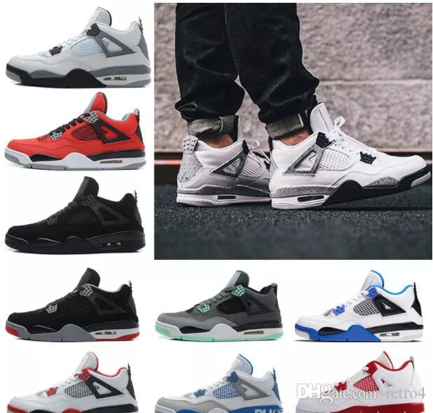 dc9dd6a0dd5a 2019 New 4s Mens 4 Basketball Shoes Man Authentic IV Boots White Cement Fire  Red Bred Bulls Royalty Thunder Mens Sport Shoes Sneakers Mens Loafers  Designer ...